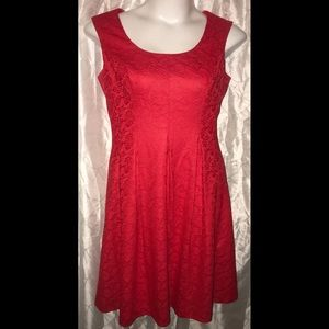Even Picone red lace a-line dress